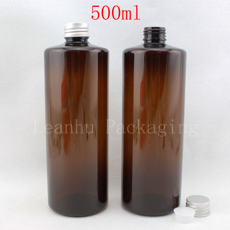 Free shipping -500ml amber empty round bottles cosmetic containers, lotion  bottles,DIY amber oil bottle plastic (12pc/lot)<br><br>Aliexpress