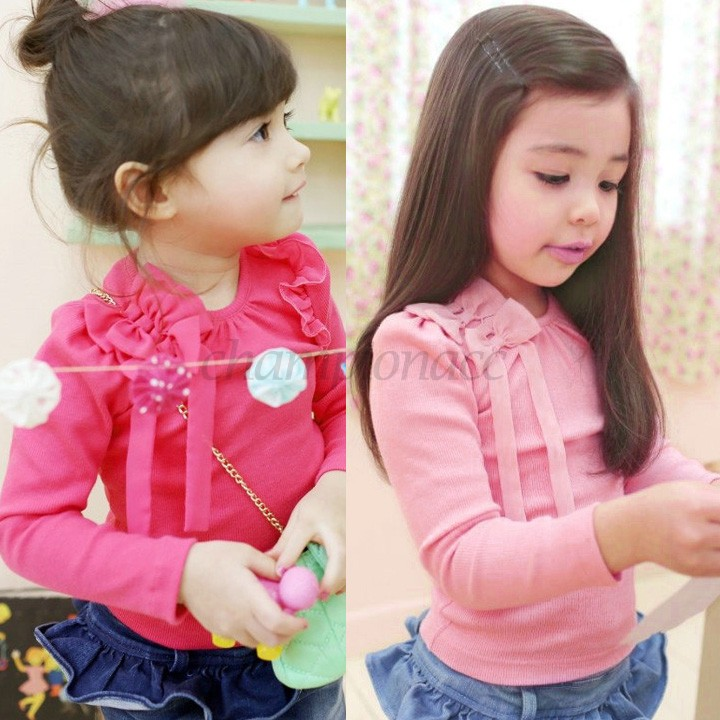 Christmas Gift Cute Style Casual Girl Tops Children Clothes Long Sleeve Cotton T Shirt Yellow/Pink/Rose Red 34 - Championacc 2013 store