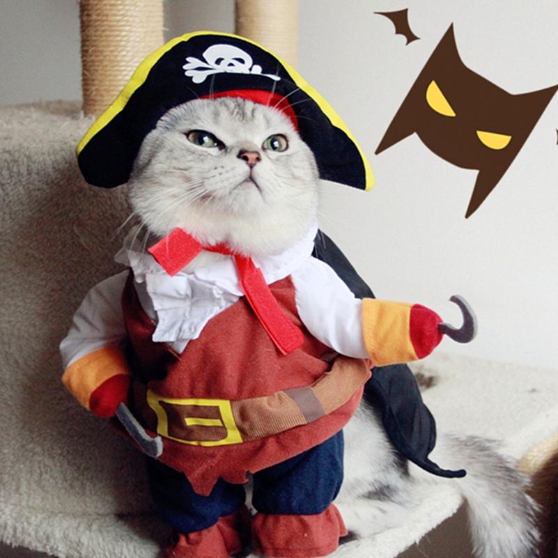Funny pet cat pirate costume suit cat clothes corsair puppy dressing