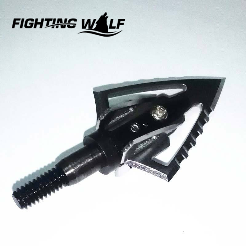 Outdoor Hunting Accessories Black Silver Fighter Style Blade Broadheads Sharp Archery Arrow Heads Hunting Edged Bow