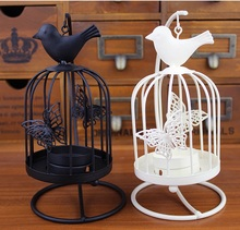 Free shipping    Fashion Creative White Birdcage Iron Candlestick Bird Candlestick butterfly hanging from a tree(China (Mainland))