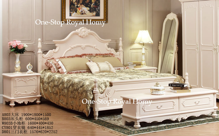 a803 high grade french style bedroom furniture solid wood bed