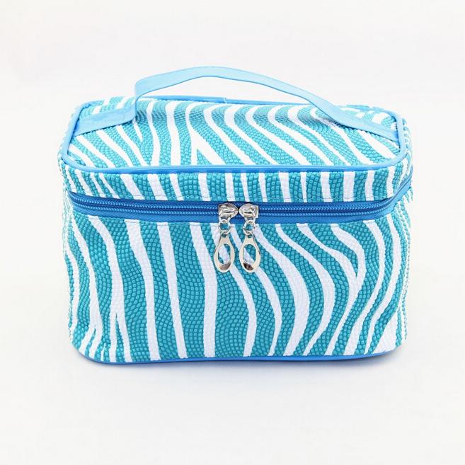 Fashion Waterproof  Pu Leather Zebra Travel Storage Bag Makeup Bag  Cosmetic Bags Trunk  Zipper Bags<br><br>Aliexpress