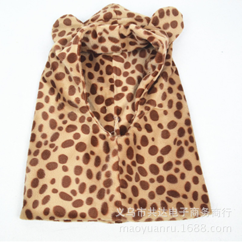 The New Winter Thicken the infant baby Fleece Leopard Set of Earmuffs Head Cap Children Warm Hat Scarf Caps(China (Mainland))