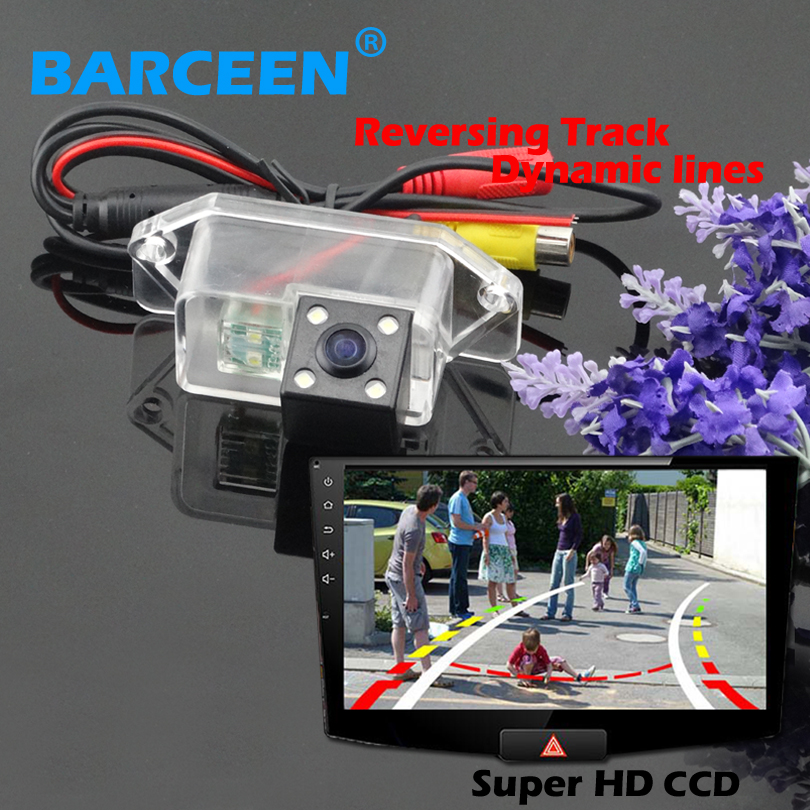 Glass lens car backup camera hd ccd image sensor auto wire +dynamic track line car reversing system adapt for Mitsubishi Lancer(China (Mainland))