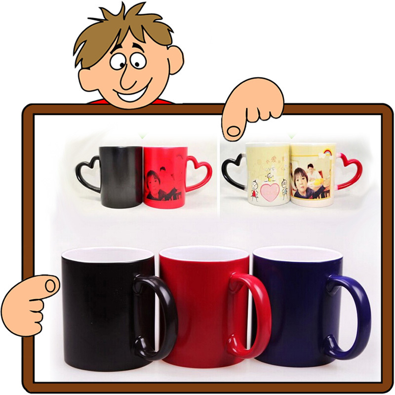 Customized Magic Mug Cups Color Changing Milk Coffee Cups Heat SensitiveTemperature Changing Cups Birthday Gifts(China (Mainland))