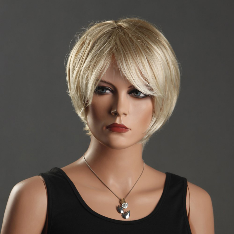New Sexy Women's Short Wigs Light Blonde Wig Oblique Bangs Short Synthetic Fiber Front Wigs HB88(China (Mainland))