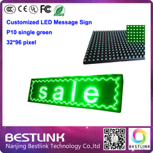 32*96 PIXEL programable led message sign p10 led display module single green led running text advertising board outdoor screen(China (Mainland))