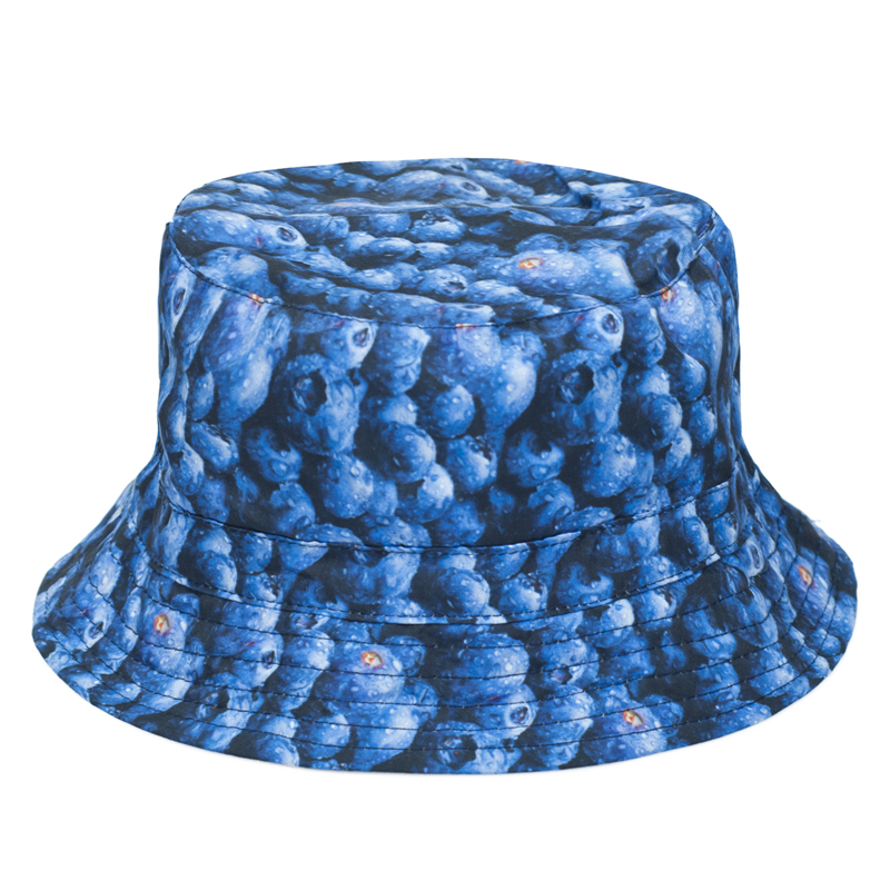 2016 Summer Harajuku Flat Bucket Hats 3D printed Dot Bluebeerry Outdoor Beach Hat Fishing Hip Hop