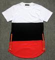 Fashion Show Celebrity Mens t shirts golden zip Hiphop KTZ jay-z Breathable Cotton Patchwork extended drop T shirt Man US SIZE