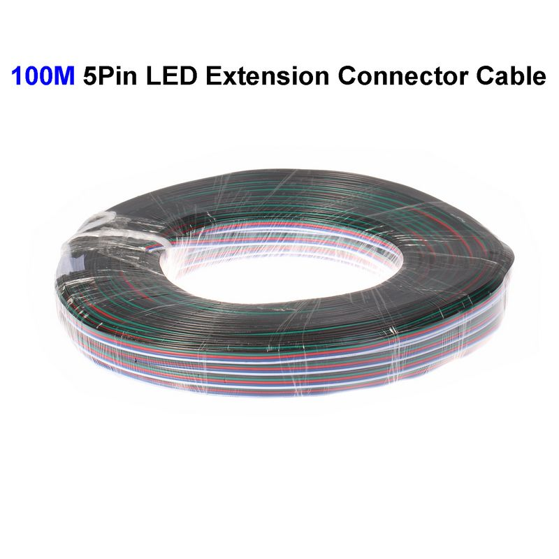 ( 3 reel/lot ) 100M 22AWG 5 Pin RGBW LED Extension Connector Wire Cord For LED Lighting Connector Cable(China (Mainland))