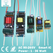 1-3W,4-7W,8-12W,12-18W,18-24W,25-36W LED driver power supply built-in constant current Lighting Transformers for DIY LED light(China (Mainland))