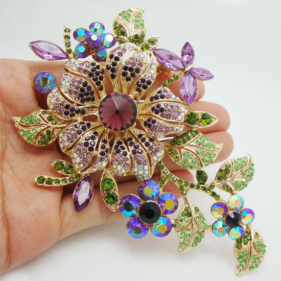 New Coming Elegant Purple Orchid Flower Rhinestone Crystal Brooch Pin Free Shipping For Woman(China (Mainland))