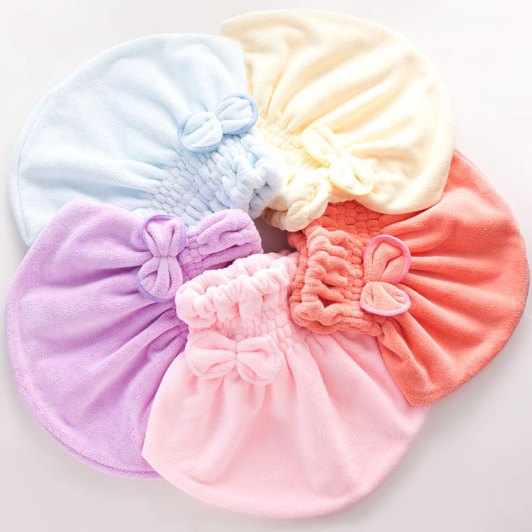 Women Magic Hair Drying Cap Lady Butterfly Hair Wrap Girl Bowknot Shower Caps Elastic Band Hat Pink Beanies CHL HAPPY MALL 15133(China (Mainland))