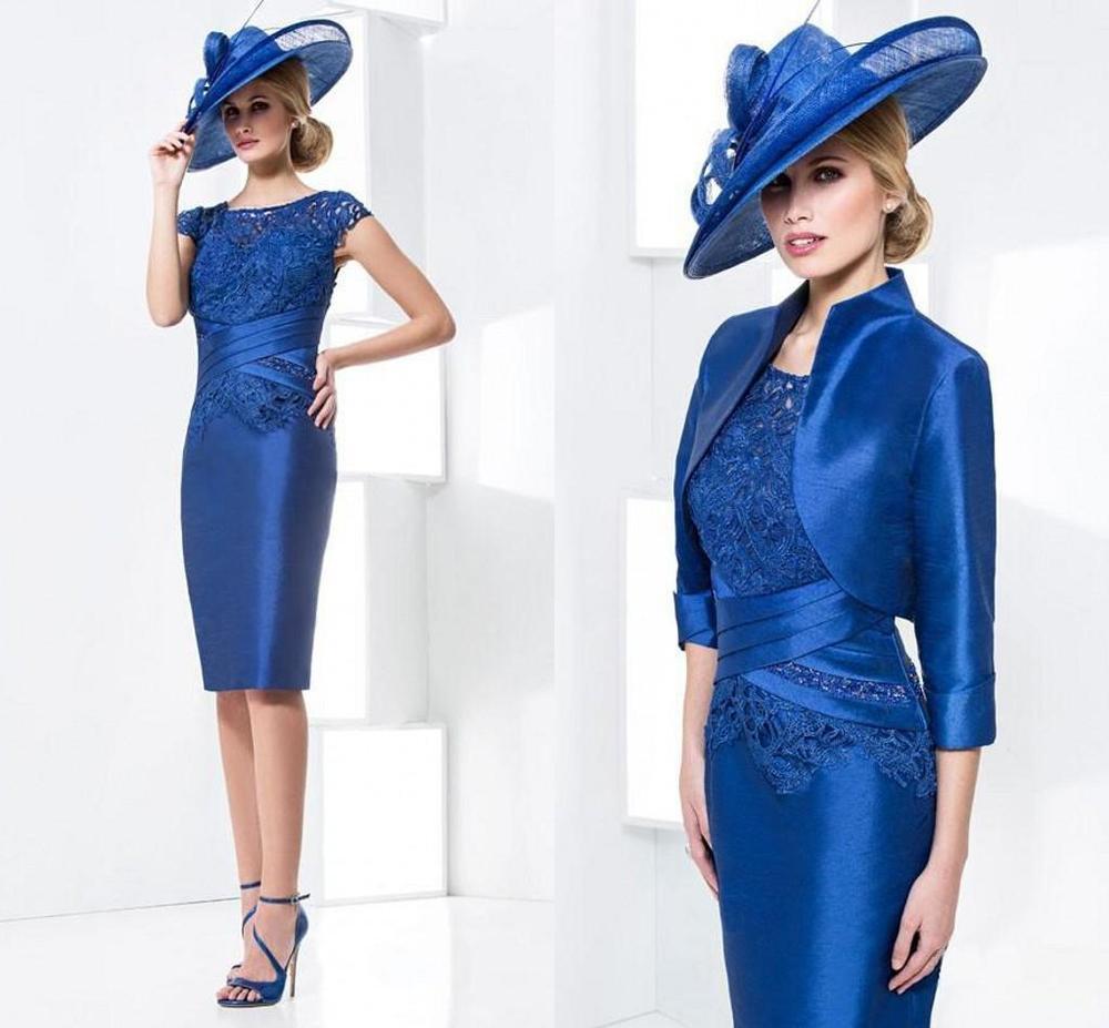 2015 Royal blue Knee-Length Sheath Jacket Mother Bride Dresses 2M0078 - ebelz forever store