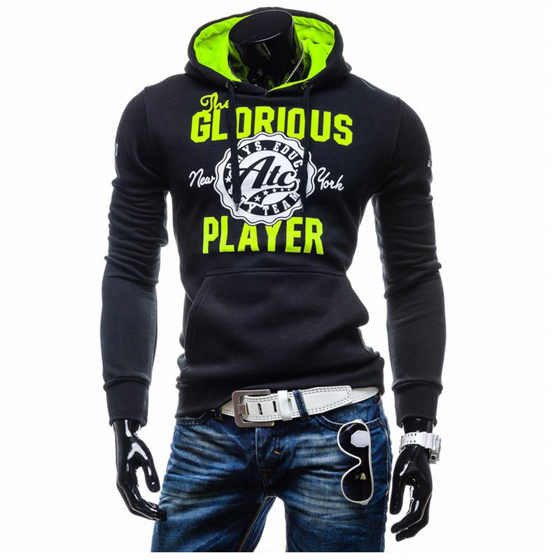 European Style Mens Sweatshirt Casual Sports Hoody Long Sleeve Printed Hoodies Fashion Brand Running Sportwear Pullover Hooded(China (Mainland))