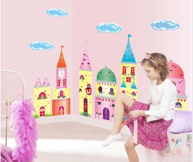 Большие красочные принцесса стена винила декаль девушки детские спальни искусства для детей номеров бесплатная доставка