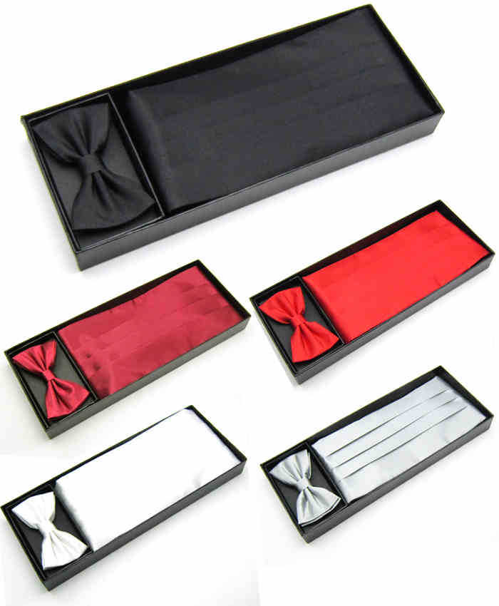 Mens Wedding Tuxedo Bow tie Set Cummerbund Hanky Pocket Towel Black Red White Silver Solid Bowtie Cravat(China (Mainland))