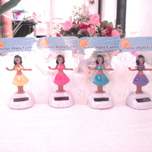 Free Shipping 10 Pieces Per Lot  Swing Under Full Light  No Battery Retail Package Novelty  Happy Dancing Solar  Hula Girls Toys(China (Mainland))