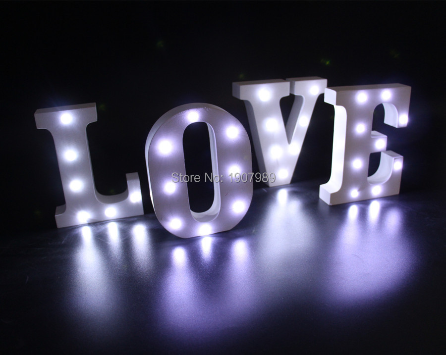 "16cm 6.2"" White wooden letter LED Marquee Sign Alphabet LIGHT UP night light Indoor WALL Deration free shipping(China (Mainland))"
