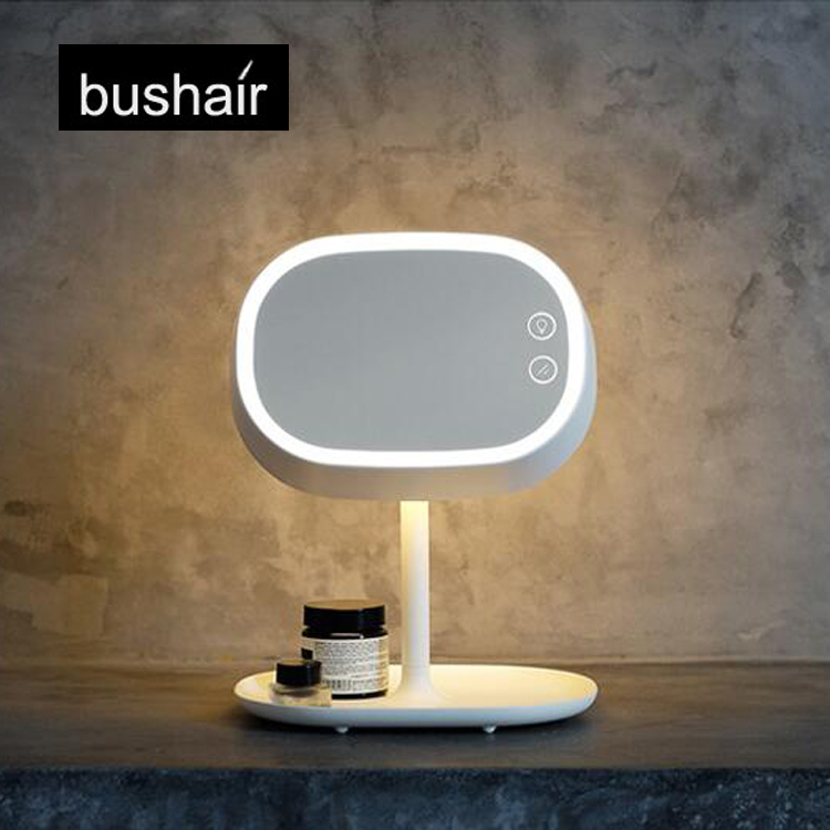 bushair 2-in-1 LED Makeup Mirror Lamp, Table Stand Cosmetic Mirror Night Light, Chargeable Lithium Battery(China (Mainland))