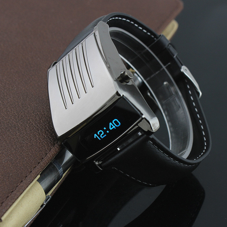 cool iron digital blue led leather wrist with