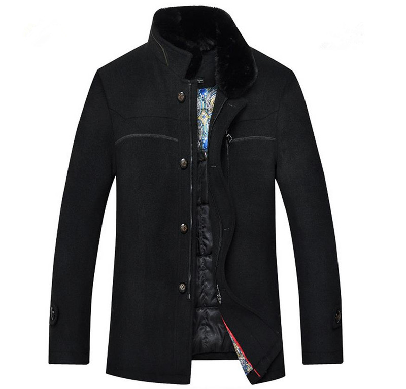 New Casual Men Woolen Coat Rabbit Fur Collar 2014 Fashion Mens Desigual Wool Jacket Work Wear Winter Thick Outdoor Padded CoatsОдежда и ак�е��уары<br><br><br>Aliexpress