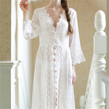 Brand Maxi Lace Robe Sexy Sleepwear Long Bathrobe Women Kimono Dressing Gown Nightgown Lingerie Camisola #Q14(China (Mainland))