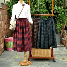 HOT SALE Long Vintage Preppy Japanese Style School Uniform Plaid Elastic Waist A-line Tartan Skirt All-match Vestidos
