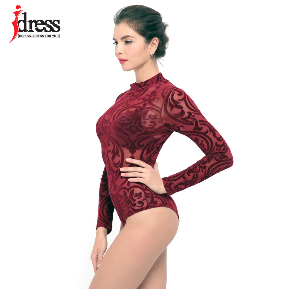IDress 2017 New Arrival BlackBlue Red Macacao Feminino Mesh Shorts Femme Playsuit Overalls for Woman Long Sleeve Sexy Bodysuit (7)