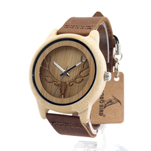 Buy BOBO BIRD A27 Hollow Deer Head Bamboo Wood Casual Watches Men Women laides Genuine Leather Strap Quartz Watch free for $14.93 in AliExpress store