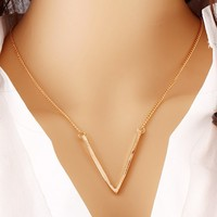 iMixBox Summer Style Boho Body Chain Steampunk Letter V Triangle Necklaces Mujer Gold Plated Vintage Long Chain Necklace Design