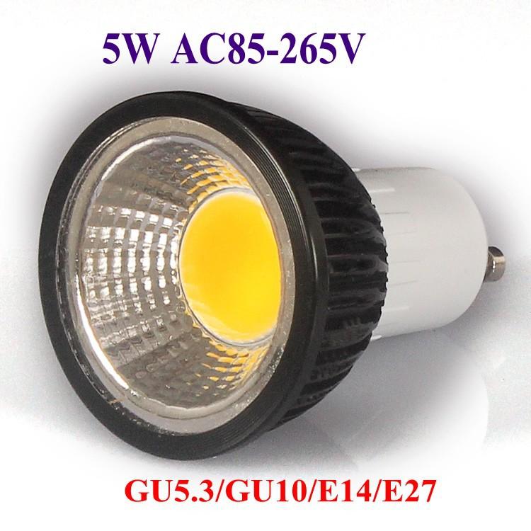 5X Super Bright Lights Dimmable 3W 5W 7W 9W Led COB Bulb Light GU10 Warm/Pure/Cool White Led Spotlights 120 Angle 700LM 110-240V(China (Mainland))