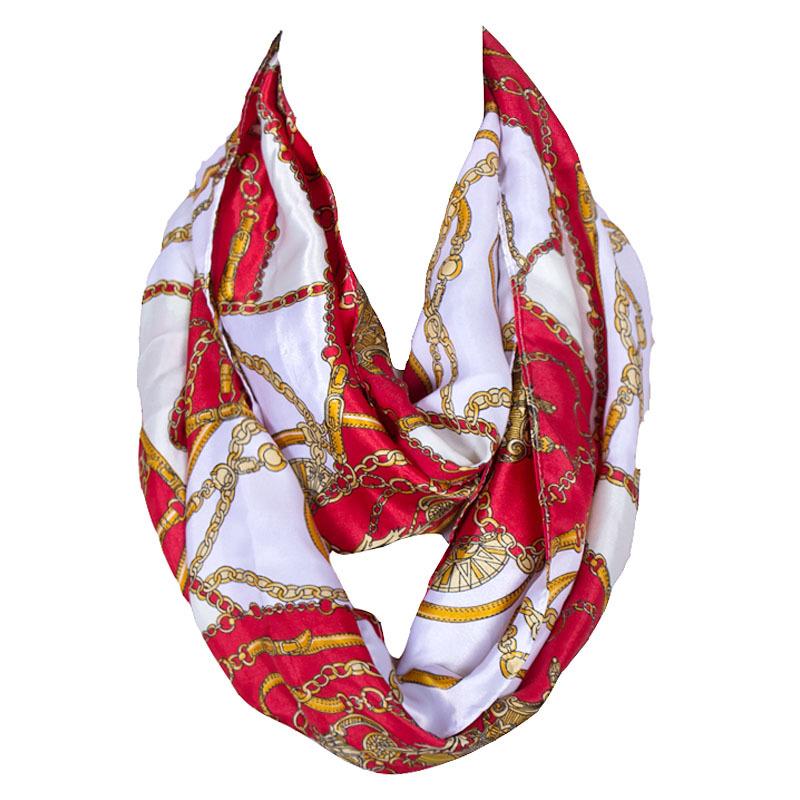 Luxury Brand Scarf Women Chain Print Silk Neck Tube Scarf Stain Scarves Womens Accessories/Scarf Foulard Circle Snood Bandana(China (Mainland))