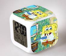 SpongeBob Alarm Night Light Clock Lovely Popular Square LED Colorful Digital Electronic Clock America Anime Toys Small Gift #F(China (Mainland))