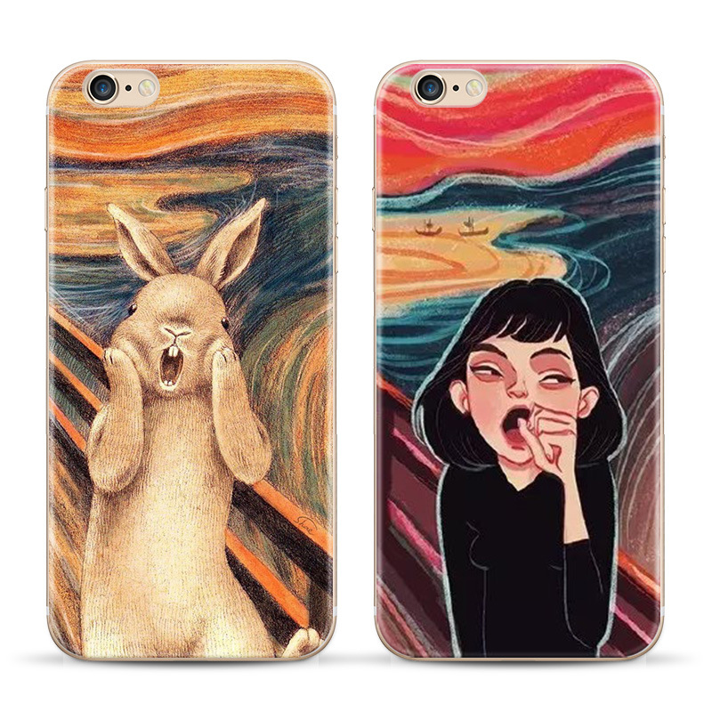 2016 New Top Quality Cartoon Ultra Soft TPU Scream Canvas Phone Case For Apple Iphone 6 6s 4.7 Retro Oil Painting Art Pattern(China (Mainland))