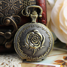 Fashion Elegant Necklace Vintage Pocket Watch Long Necklace Watch Rose Flower Pendant Watch(China (Mainland))