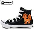 Black High Top Converse All Star Shoes Boys Girls Pokemon Go Vulpix Fox Design Custom Hand