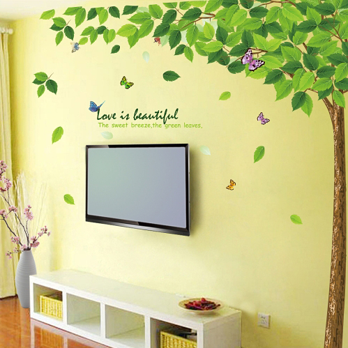 High Quality Extra Large 200cm 250cm The Green Tree Removable Art Vinyl Wall Stickers Decor