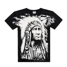 New T Shirt Cool 2015 Fashion Men's Cotton Short-sleeve 3D Printed Indian Character Men's T Shirt Men Tops Sport Hip Hop t Shirt