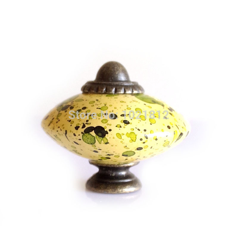 5pcs Yellow Cabinet Knob Cupboard Closet Dresser Drawer Knob Handle 39mm Acrylic Pull Flying Saucer Style(China (Mainland))