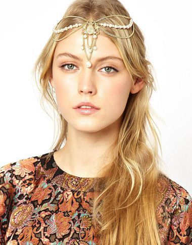 Women Wedding Party Hair Accessory Gold Headband Side Wave Metal Chain Headpiece Fashion Faux Pearl Beads Hair Jewelry Festival(China (Mainland))