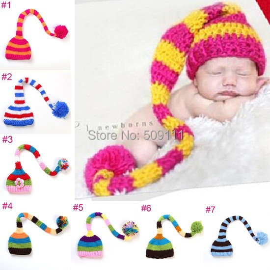 Baby Pixie Elf Christmas Beanies Newborn ELFHat Handmade Crochet hat Photo Props 7 colors H504(China (Mainland))