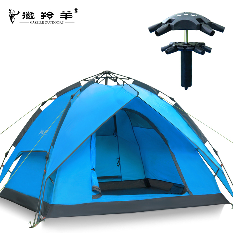 Emblem antelope outdoor tent 3-4 person Double Double hydraulic automatic rain -speed open camping tent camping