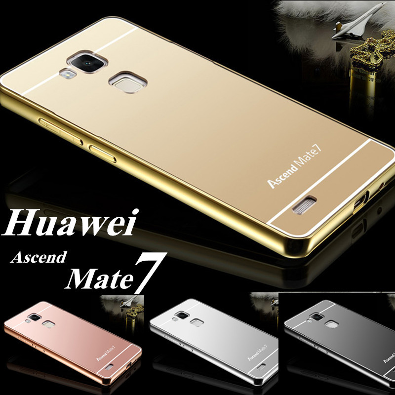 For Huawei Mate 7 Case Luxury Fashion Aluminum Metal Frame + Miror Acrylic Cover Case For Huawei Ascend Mate 7 Phone Cases Back(China (Mainland))
