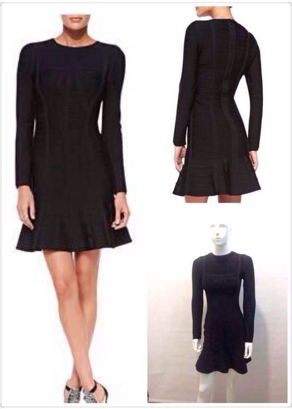 Free Shipping 2014 New Fashion Spring Autumn Women Dress Elegant Black Round Neck Long Sleeve A Line Bandage DressesОдежда и ак�е��уары<br><br><br>Aliexpress