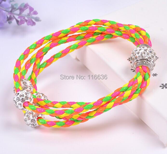 Triple Wrap bracelet women Korean Strippes Double color Braided PU leather Fashion Jewelry Wrap Bracelet(China (Mainland))