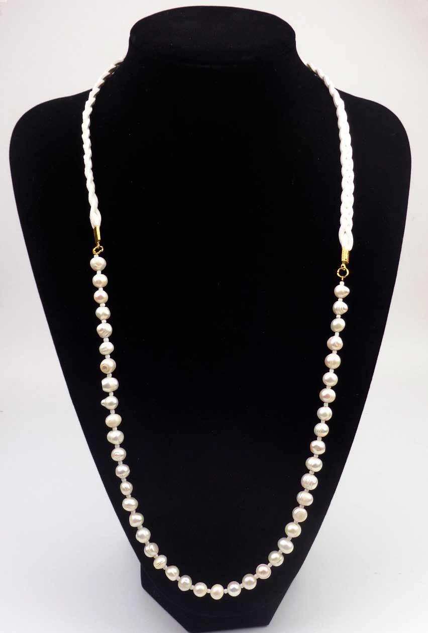 Blanco Natural de la perla collar de accesorios de Moda para las mujeres collares largos de gamuza