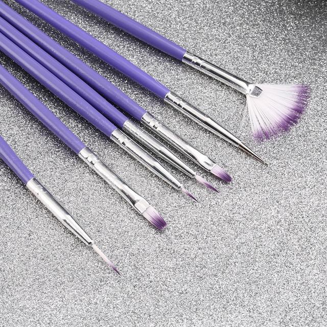 Crystal Nail Polish Brush Set 7Pcs