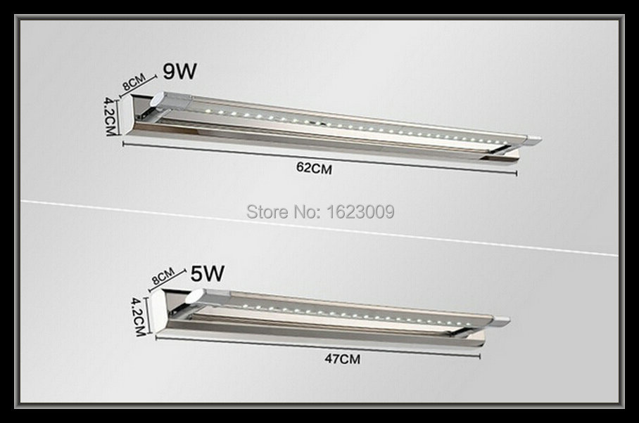 Free shipping 5W/9W 30 LED 5050 SMD White Mirror Front Light Lamp Bath Wall Stainless Steel